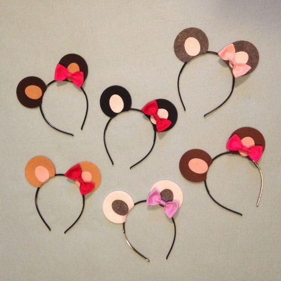 1 Teddy Bear Theme Ears with bow Headband birthday party favor