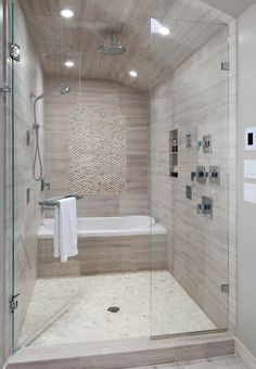 small master bathroom with steam shower - could do without the tub