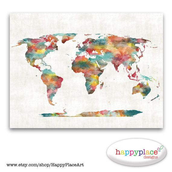 Very large Custom World Map - Printable Image with Watercolour Texture. Choice of text, size. Great for travel map or heart map. on Etsy, $15.00