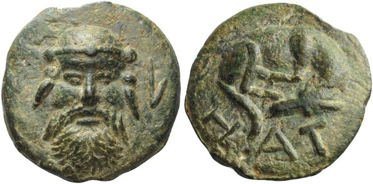 GREEK COINS  Umbria, Hatria   As circa 275-225, Æ 421.00 g. Head of Silenus facing, with animal's ears; on r., L. Rev. Dog lying asleep; below, H – AT. Haeberlin p. 205, 2 and pl. 74, 1 (this coin). Sydenham Aes Grave 180. Weber 216 (this coin). Campana p. 233, 1. ICC 236 (this coin illustrated). Historia Numorum Italy 11. Extremely rare and undoubtedly the finest specimen known of this interesting and intriguing issue. An exceptionally detailed portrait and a superb green patina. Good ext