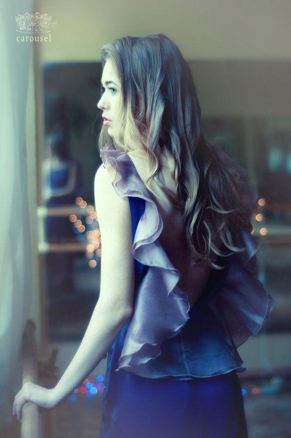 Etsy の Navy blue evening dress open back dress by CarouselFashion