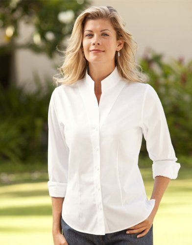 Orvis women 39 s wrinkle free pinpoint stand for Wrinkle free dress shirts amazon
