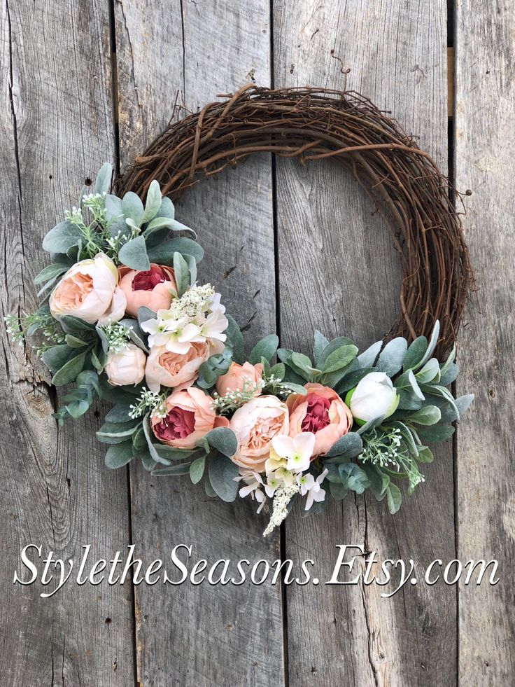 Excited to share the latest addition to my #etsy shop: Spring Wreath, Springs Wreath for Front Door, Peony Wreath, Peony Wreaths for Front door, Lambs Ear Wreath, Easter Wreaths for Front Door
