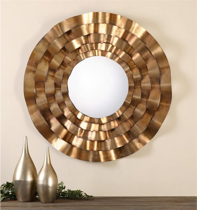 For Uttermost Follonica Antiqued Gold Round Mirror And Other Accessories Mirrors At Marty Mason Collected Home In Atlanta Ga