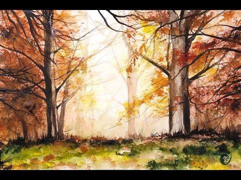(5) Demonstration einer Aquarell-Rotwald-Lichtmalerei – YouTube