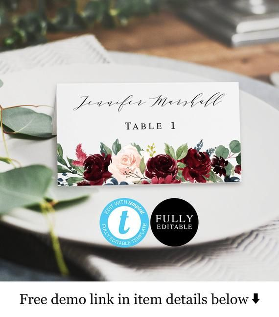 Place Cards Template Flat And Folded 100 Editable Rustic Etsy Wedding Name Cards Wedding Placement Cards Wedding Name
