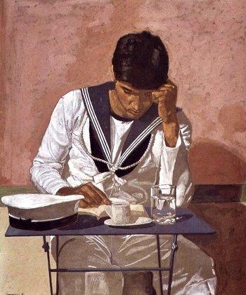 Ναύτης που διαβάζει, Villeneuve-les-Sablons, 1980. Λάδι σε πανί, 96x80 εκ. (Πινακοθήκη Πιερίδη, 298).