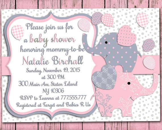 Elephant Baby Shower Printable Invitation Set Baby Girl Digital