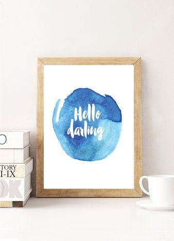 Contemporary Blue Watercolour Poster Hello by FrankieAndGus