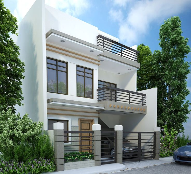 4 bedroom, modern triplex (3 floor) house design. area: 108 sq mts