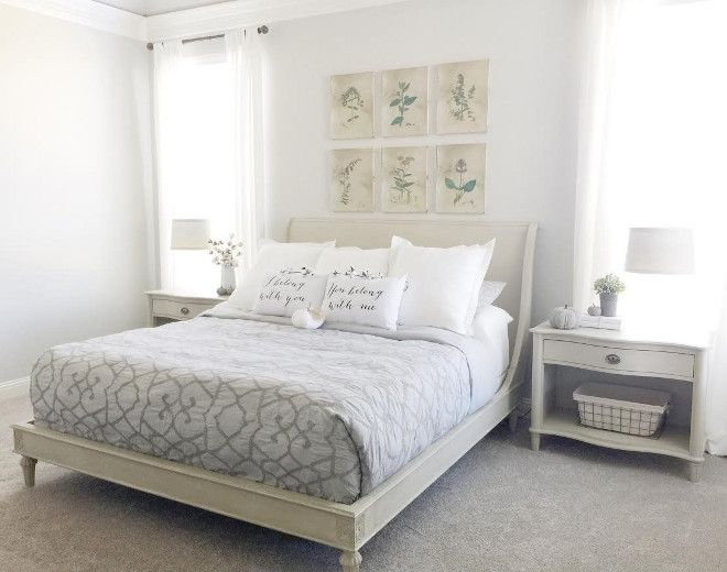 I love how large, open, and bright our bedroom is. It has a very calming feel. I got lucky with the bed and 2 side tables because I found them at a Restoration Hardware warehouse sale in perfect condition for a steal! The downside was that they were being discontinued so there wasn't a matching dresser. We decided to go with a darker gray dresser from Restoration Hardware in a similar line as the bed and purchase a grey comforter to tie each side of the room together. Beautiful Homes of…