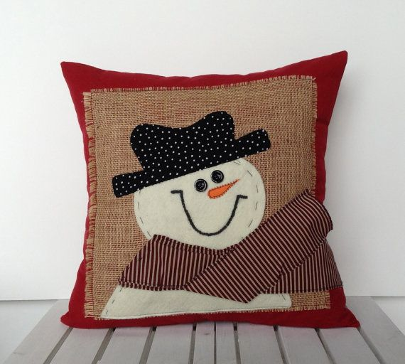 Snowman Christmas Pillow cover, holiday pillow, decorative pillow, cushion, Christmas decoration on Etsy, $25.00