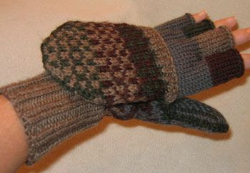 free pattern.  knit fingerless gloves with mitten tops.  Finished Glitten by Nuttinbutknitting, via Flickr