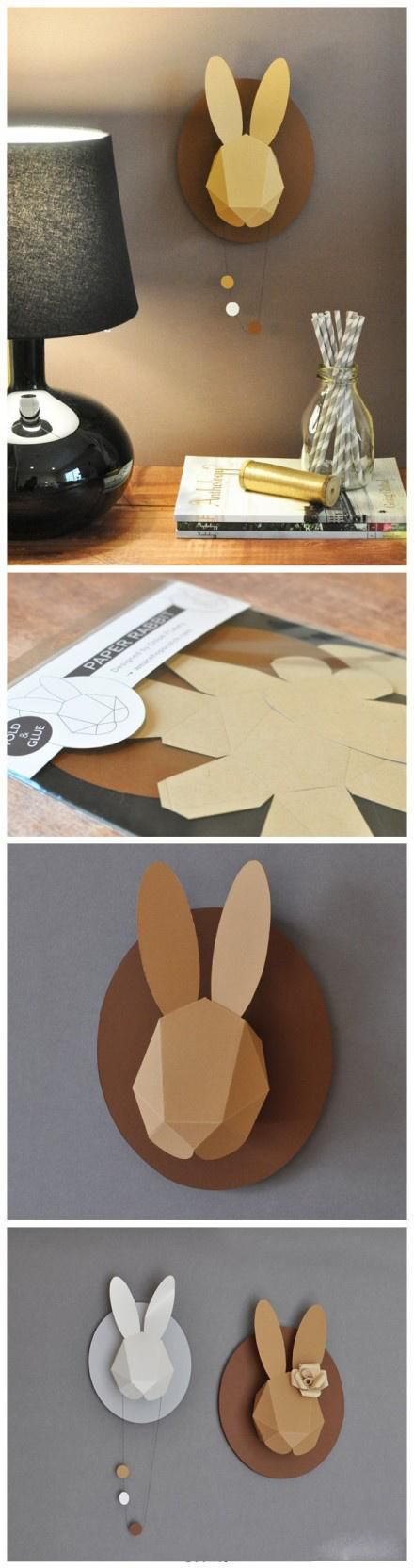 DIY Bunny Wall Art: Easter Parties, Idea, Animal Head, Baby Bunnies, Cute Bunnies, Rabbit Art, Paper Wall, Bunnies Head, Chloe Fleuri
