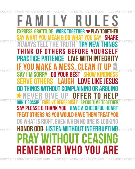 Family Rules - Subway Art - Instant Download