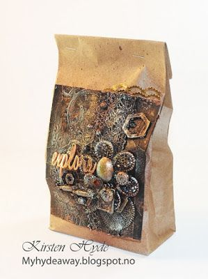 One of 24 Mixed Media Kraft bags for an advent calendar. Created as a DT for Hobbykunst, Made by Kirsten Hyde.