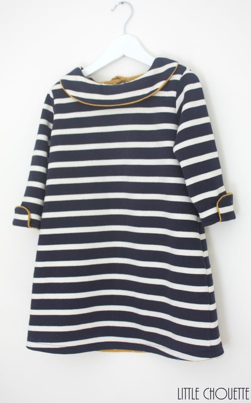 striped dress with piping // little chouette