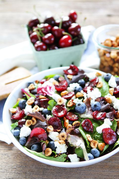 Balsamic Grilled Cherry, Blueberry, Goat Cheese, and Candied Hazelnut Salad Recipe. The perfect summer salad!