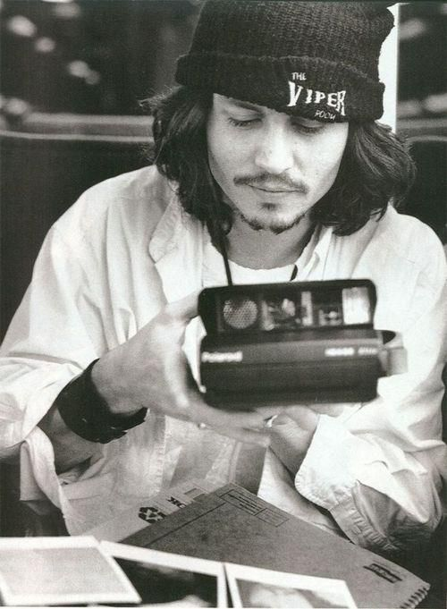 Johnny Depp Polaroid Camera Viper Room Beanie Black And White
