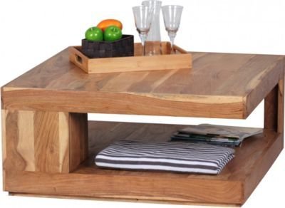 Wohnling WOHNLING Couchtisch Massiv Holz Akazie 90 Cm Breit Design Wohnzimmer Tisch Dunkel