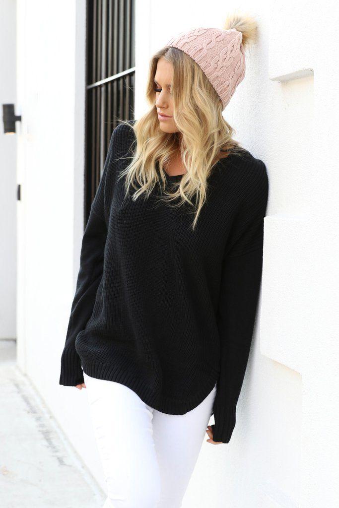 black rib knit jumper from Madison Square Clothing.