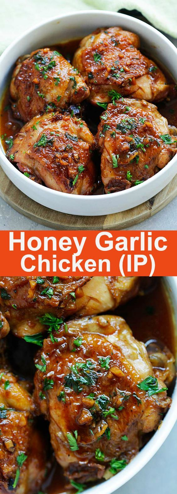 Honey Garlic Chicken - moist, tender, fall-off-the-bone chicken thighs in savory and sweet honey garlic sauce and made in an Instant Pot, so delicious | rasamalaysia.com