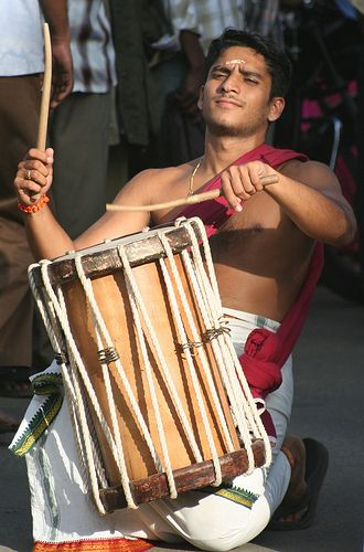 Drummer in Munnar, Kerala. India.