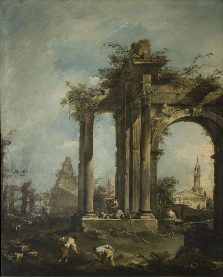 "Francesco Guardi ""Capriccio with Roman Ruins, a Pyramid and Figures"" (1760-70 ca) Oil on canvas Victoria and Alber Museum, London"