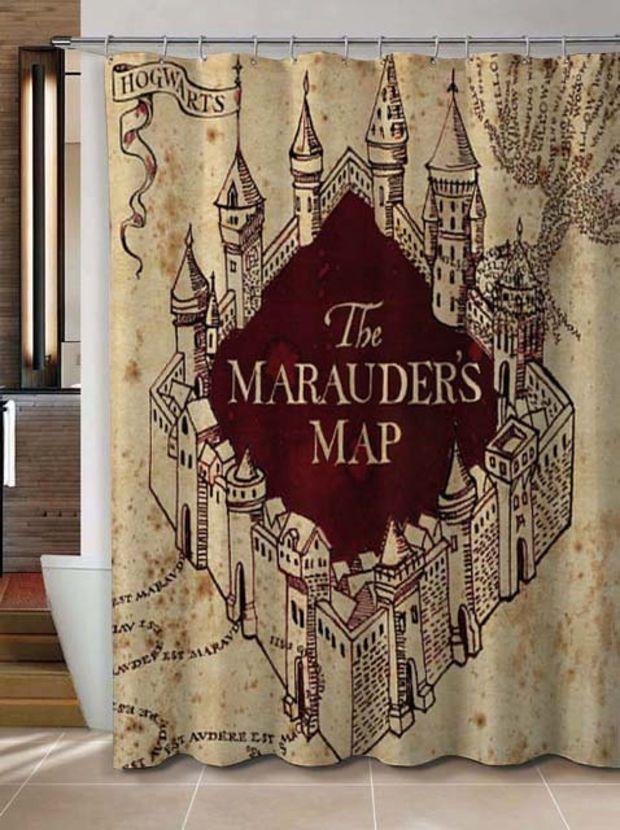 Harry potter marauder map custom shower curtain potter