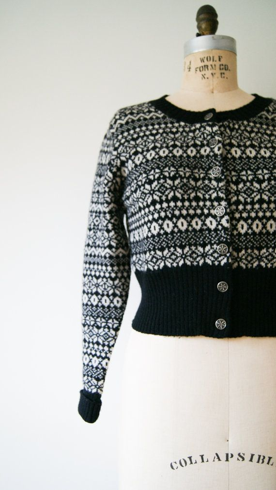 Fair Isle Sweater Vintage 90s Nordic Sweater Cropped Cardigan in Black and White Women's Small