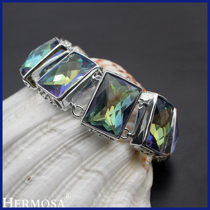 Hermosa Jewelry Huge Sparkling Square Mystic 925 Sterling Silver Bracelets 8 inch Adjustable size