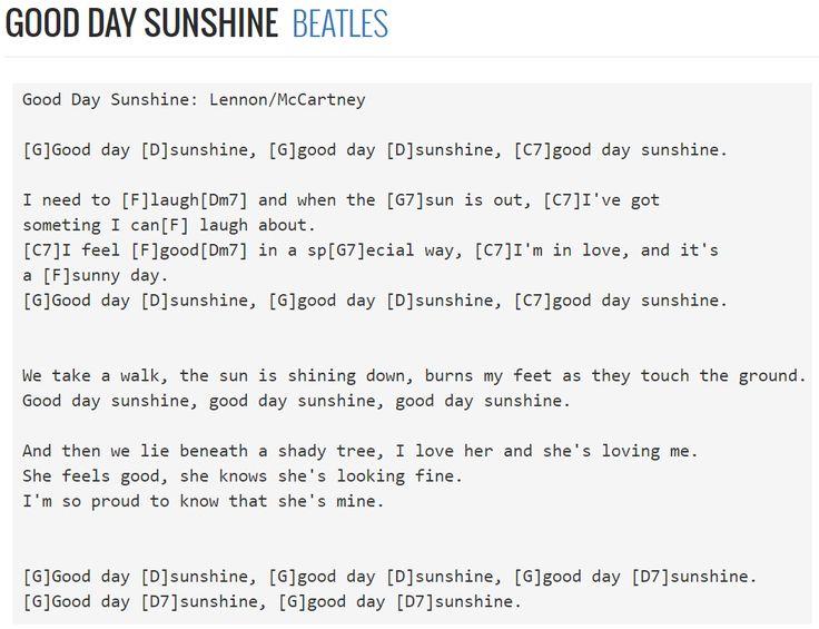 Good Day Sunshine Guitar : Best music images on pinterest banjo lyrics
