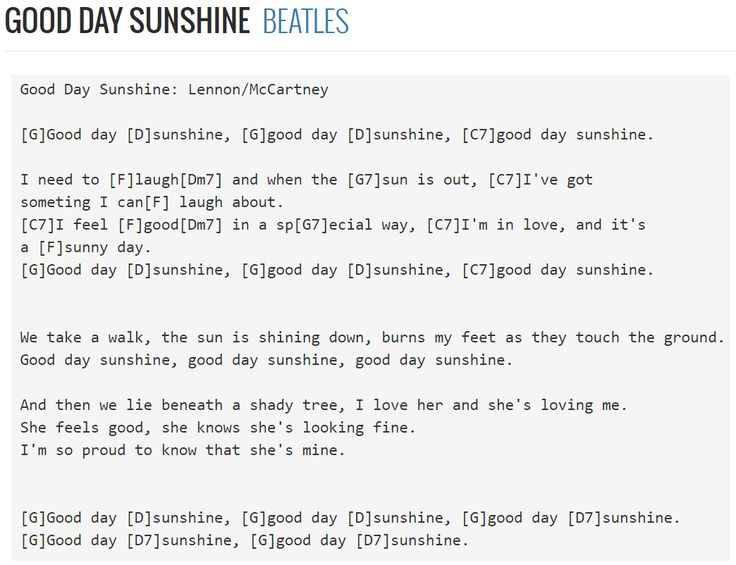 Good Day Sunshine Chords Guitar: The beatles good day sunshine sheet ...