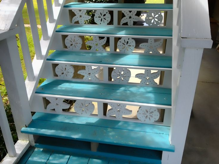 Best Decorative Nautical Stair Risers With Sand Dollar And 400 x 300