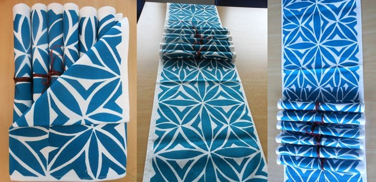 Hand Painted Table Runner and Table Mats using stencil with Samoan designs.