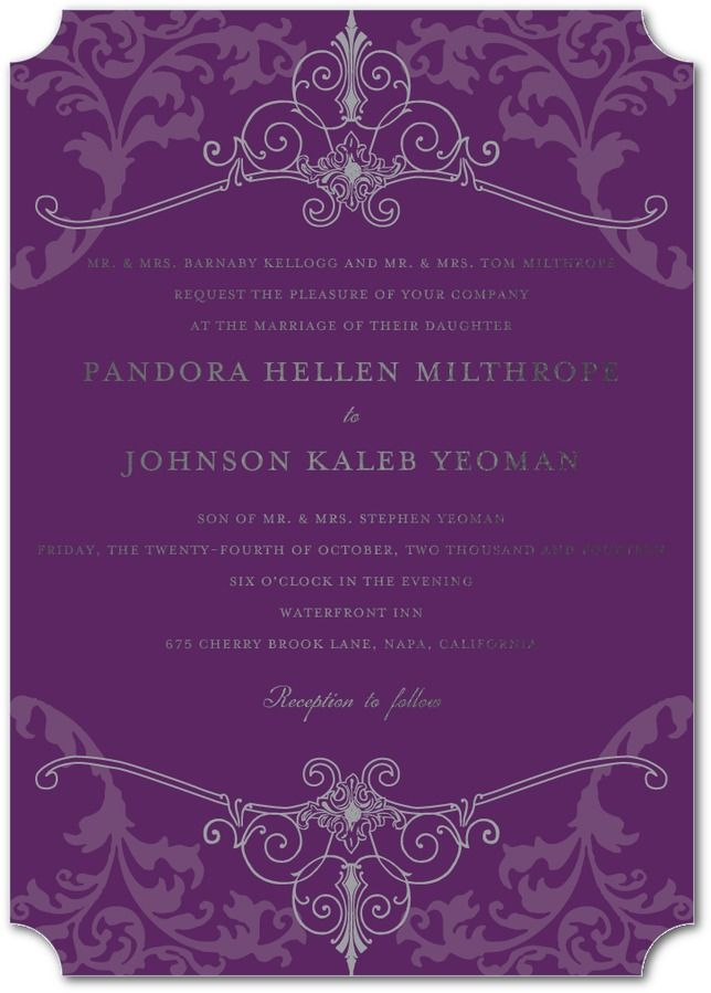 Regal Refinement Royal Delicate Wedding Invitations in Purple, Blue, Orange and More