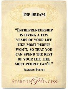 Warren Buffet Quote on Startup Princess