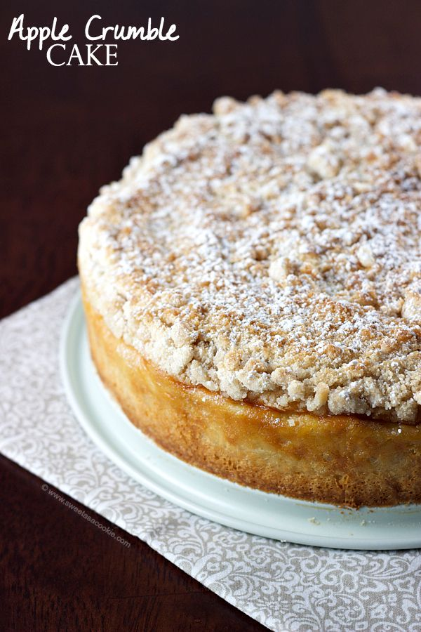 Apple Crumble Cake | Apple pie and coffee cake combined via sweetasacookie.com