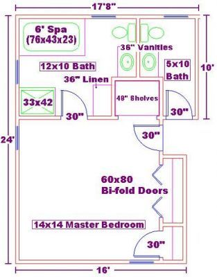 Master bedrooms floor plans and bathroom on pinterest for 6 x 14 bathroom layout