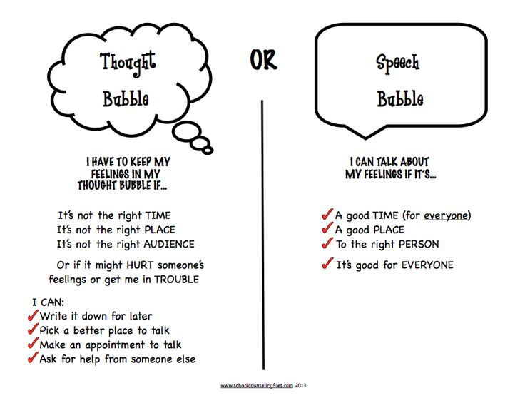 "Help kids learn about filtering what they say with the concept of ""thought bubbles.""  From www.schoolcounselingfiles.com"