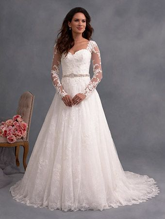Alfred Angelo 2590  An All Over Lace, A-Line, Traditional Wedding Dress with Sheer, Full Length Sleeves, Detachable Belt, and Chapel Train.