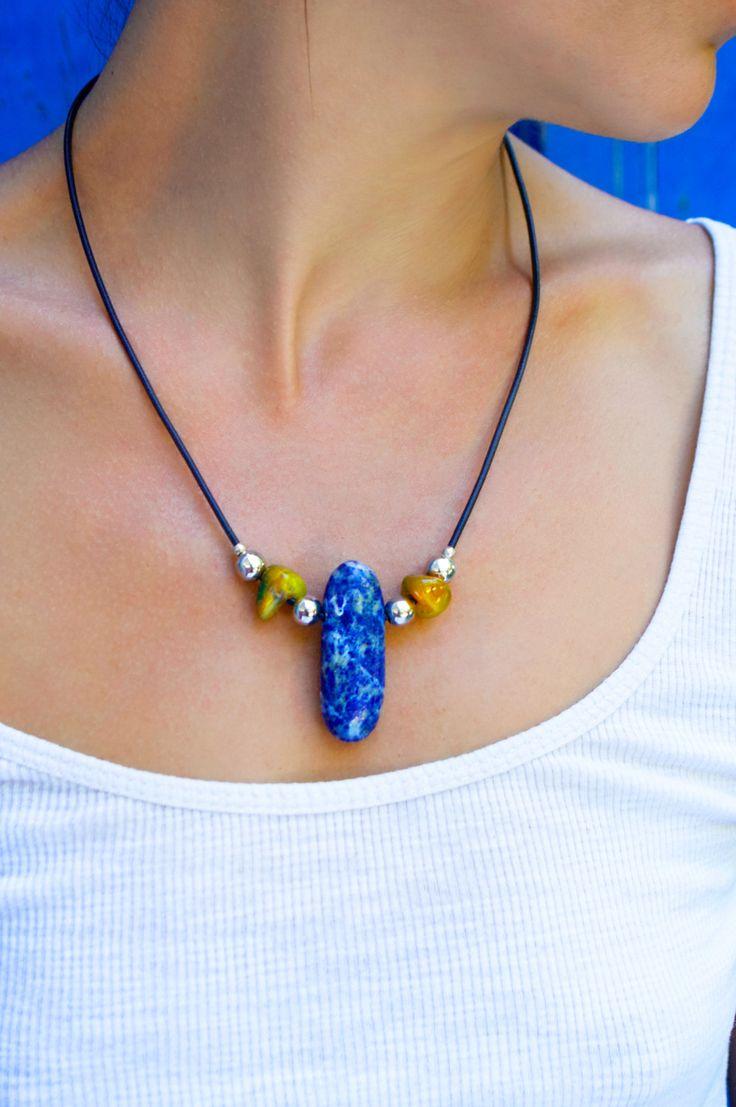 lapis lazuli necklace with yellow jade gemstones by Votsaloartstudio on Etsy