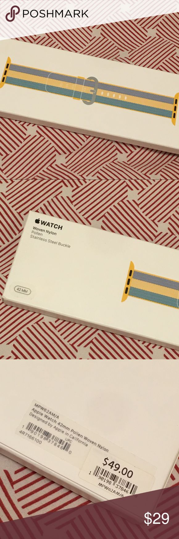 Buckle for Apple Watch. Woven Nylon Stainless Steel Buckle for Apple Watch in color pollen. Never worn. Never open in original box. Price is firm! Apple Watch Accessories Watches