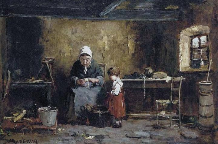 Munkácsy Mihály (1844-1900) - A konyhában - Krumlihámozó