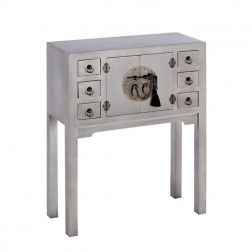 Mueble chino consola gris ceniza 2 puertas muebles for Muebles orientales madrid