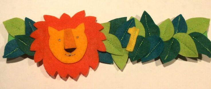 Feestmuts leeuw van vilt met band van elastiek #verjaardagskroon