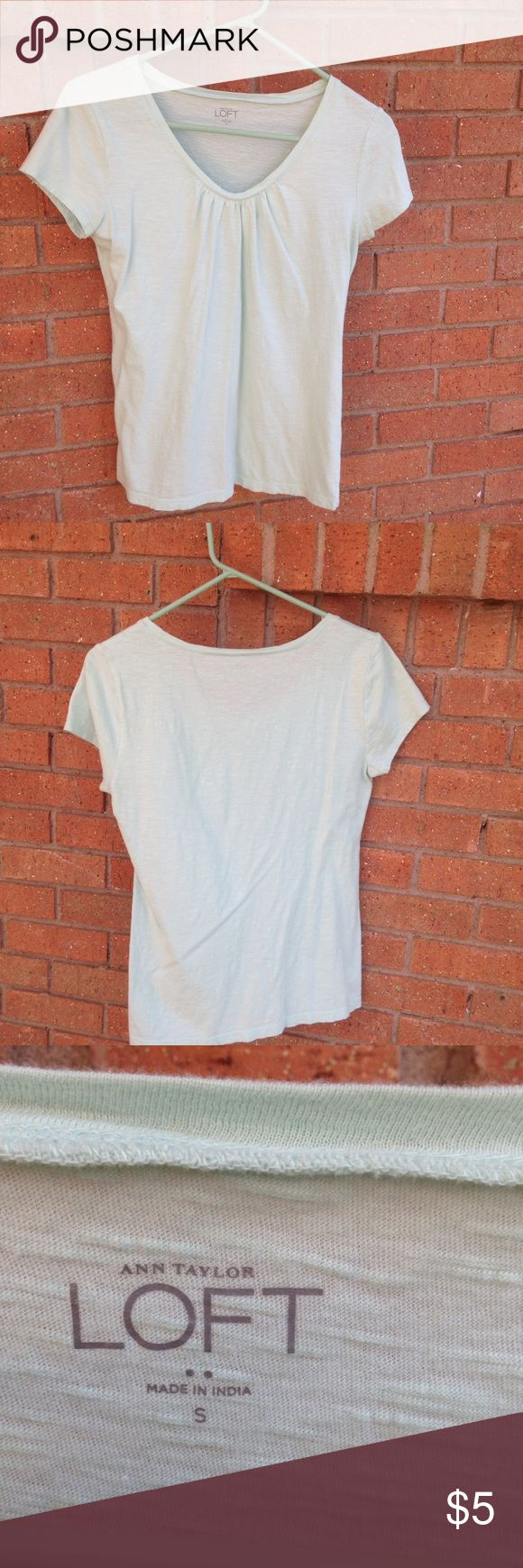 Mint Scoopneck Top Scoopneck mint colored top for Ann Taylor Loft factory store. This is gently worn, and good condition. No trades, but offers are welcome. ❤ LOFT Tops Tees - Short Sleeve