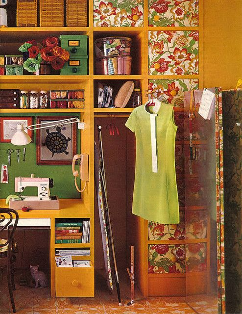 Work in progress… a 1960s sewing room.