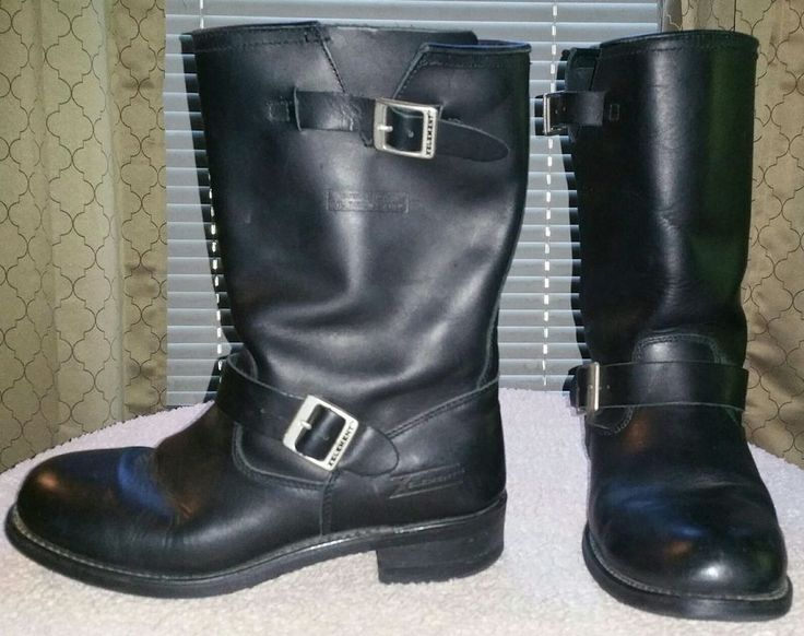Xelement 1440 Black Leather Motorcycle Riding Boots Mens 12 Oil Resistant 13 in #Xelement #Motorcycle