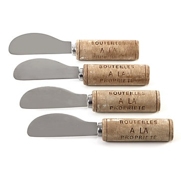 Wine Cork spreaders perfect for a wine and cheese party. $14.95